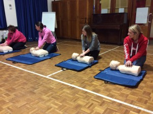 Parents attend the first aid training