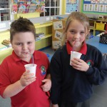 Enjoying their smoothies from healthy tuck